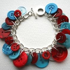 Fresh Red and Blue Button Charm Bracelet