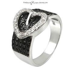 black white cz sterling silver heart belt buckle fashion ring size 5 6 7 8 9  #BeltBuckleRing