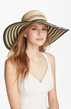 7c77358e4f4 Laundry by Shelli Segal  Angelina  Striped Sun Hat available at  Nordstrom  Outfits With