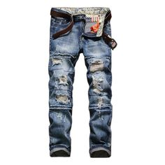 Vintage European American Style Ripped Jeans Slim Fit Straight Leg... ($29) ❤ liked on Polyvore featuring men's fashion, men's clothing, men's jeans, men, jeans, pants, light blue, men jeans, mens embellished jeans and mens slim jeans
