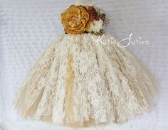 READY TO SHIP- Vintage Fall Lace Ivory, Brown, Gold, Lace Tutu Dress- Flower Girl, wedding, Pageant dress, Birthday, toddler, baby girl on Etsy, $169.95
