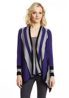 LARSEN GRAY Engineer Stripe Open Front Sweater