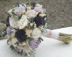 Dried Lavender, Wheat, Sola Flower Bride Bouquet Taupe Grape/Dark Purple Lavender Made to Order Custom Colors Available