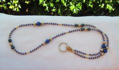 Beaded ID Badge Lanyard Blue & Gold Beaded by TheLanyardNecklace, $23.00
