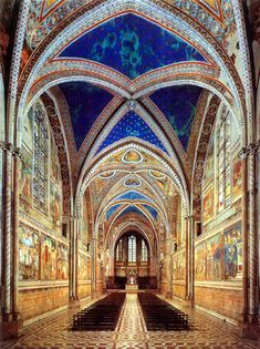 Basilica of St. Francis of Assisi. One of my most favorite places on earth. There are a lot of blues and greens in the murals in both the knave (here) and the lower basilica.