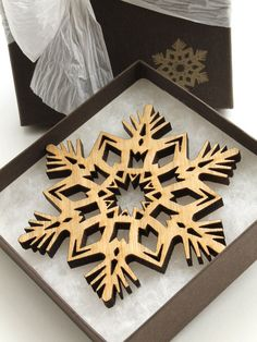 Detailed Wood Snowflake Ornament - Christmas Decor 2012 . Timber Green Woods. $14.95, via Etsy.