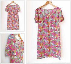 A New Liberty Summer Shift Dress - AliceCarolineBlog Newlook (simplicity) 6022. Good tip for attaching binding to neckline.