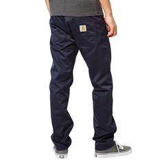 22ac6f23 CARHARTT WIP Skill pantalon en toile navy rinsed Cortez relaxed tapered fit