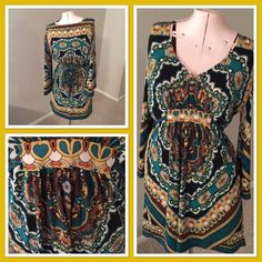 INC top/tunic Gorgeous INC top/tunic. Gorgeous colors-brown, yellow, green and white throughout. Ties in the back. In excellent condition, no rips or stains. INC International Concepts Tops Tunics