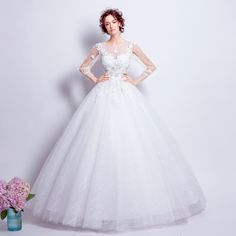 Angel Wedding Dress Marriage Bride Bridal Gown Vestido De Noiva Lace Boat Neck Flower bud silk 2017 6916
