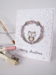 """This is such a cute """"white Christmas"""" card. I like this idea also for a simple """"thinking of you"""" Winter card. :)"""