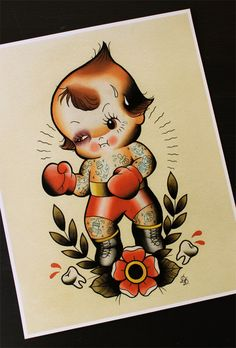 """Kewpie Boxer Traditional Tattoo Flash Print 11""""x14""""  (Other sizes available) by Yukittenme on Etsy https://www.etsy.com/listing/206074206/kewpie-boxer-traditional-tattoo-flash"""