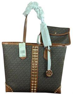 Michael Kors Tote Bags, Michael Kors Jet Set, Luxury Designer, Gold Studs, Shoulder Strap, Money, Brown, Leather, Products