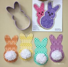 Did you know that cookie cutters aren't just for cookies? They make fun templates and an easy way to trace shapes! I used the Wilton Peeps Bunny Cookie Cutter to make silhouette bunnies. Covered them in washi tape and added little white yarn pom-poms for bushy tails Great tags for Easter or even to top …