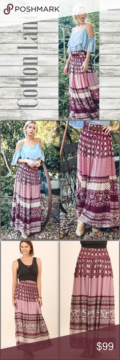 "Multi-Print Maxi Skirt Multi-Print Maxi Skirt  •Beautiful shades of burgundy reds and cream.  •Floor length maxi •Elastic waist •60% Cotton 40% Polyester  •High waisted (belt is not included) •Model is 5'9"" and wearing Small.  •Lt. Denim top is sold in a separate listing.   Length Measurements: S:  39""  M: 39.5""  L: 40""  #G05801238  ➖Price is firm unless bundled➖ Skirts Maxi"