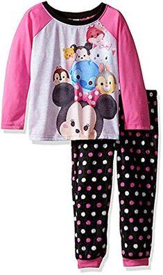95860b25d Dsney Tsum Tsum Girl's Size 6 Polyester Jersey and Fleece Pajama Set Fleece  Pajamas, Little
