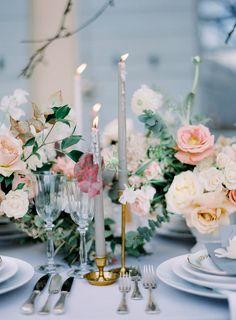 Old World Wedding, Our Wedding, Wedding Ideas, Blue Wedding Receptions, Wedding Table, Flower Decorations, Wedding Decorations, Winter Wonderland Wedding, Winter Wedding Inspiration