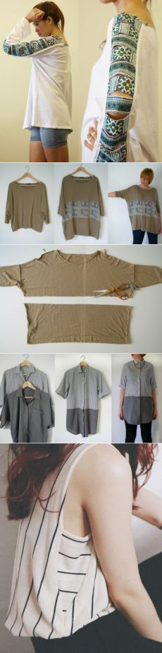 64 Trendy diy clothes upcycle refashioning t shirts Refashion Dress, Diy Clothes Refashion, Refashioning Clothes, Sweater Refashion, Sewing Dress, Sewing Clothes, Remake Clothes, Umgestaltete Shirts, Men's Shirts And Tops