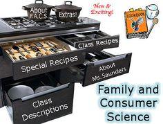 Resources for FACS classroom supplies, teacher websites, blogs
