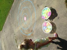 Water balloons and target practice= toddler fun