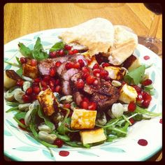Lamb, halloumi and minted broad bean salad with pomegranate. Nom!