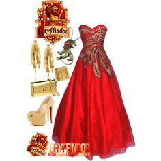 "My jaw dropped when I saw this dress! ""Gryffindor: Yule ball"" by eclare887 on Polyvore"