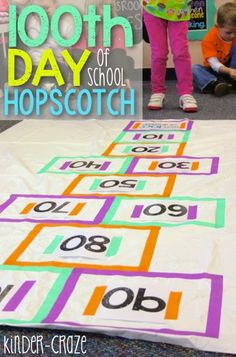 DIY hopscotch for the 100th day of school
