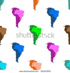 Map Of Latin America. South America. Brazil. Seamless pattern. White background.