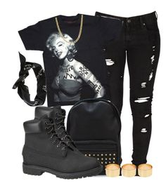 """Tatted Marilyn."" by cheerstostyle ❤ liked on Polyvore featuring Levi's, Timberland, ASOS and Jack & Jones"