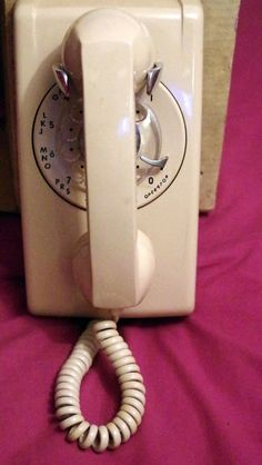 1960s Cream Rotary Dial Telephone Wall Mount ITT Retro