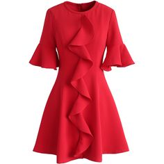 Chicwish Eye-catcher Red Ruffled Dress ($53) ❤ liked on Polyvore featuring dresses, red, sleeved dresses, red slip dress, holiday party dresses, ruffle cocktail dress and red ruffle dress
