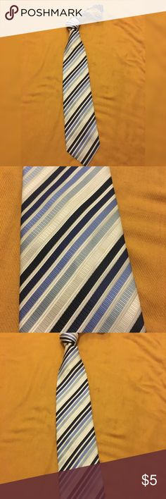 Bergamo mens neckwear diagonal striped hues of blue and white necktie Accessories Ties