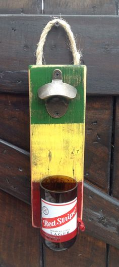 Red Stripe/Rasta Beer bottle wall opener by GlassNthings420 on Etsy
