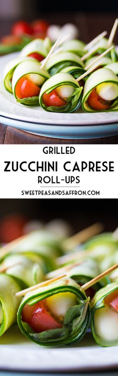 Grilled Zucchini Caprese Roll-Ups - Zucchini ribbons wrapped around fresh basil, bocconcini, and a cherry tomato, then lightly grilled. A light and fresh appetizer, perfect for a backyard barbecue!