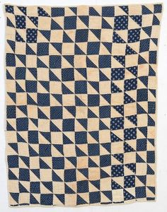 This Hourglass crib quilt can be seen as several different patterns. There is the diagonal design in which the indigo triangles make up the bow tie. Alternatively, the primary pattern can be seen as the indigo Four Patch with the light triangles making up the Hourglasses. The binding is the back turned over to the front. While every indication is that it has been this way for many years, it is odd that on one edge, pieces of each block seem to be cut off. This is visible in thumbnail photos. Mea Old Quilts, Antique Quilts, Small Quilts, Vintage Quilts, Crib Quilts, Indigo Prints, Half Square Triangle Quilts, Selling Antiques, Different Patterns