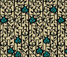 Art Deco Orchids fabric by acbeilke, available from Spoonflower