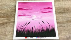 Pink Sunset   Easy Art   Acrylic Painting for Beginners   Joy of Art #183 Acrylic Painting For Beginners, Simple Acrylic Paintings, Using Acrylic Paint, Easy Art, Simple Art, Pink Sunset, Painting & Drawing, Tube, Projects To Try