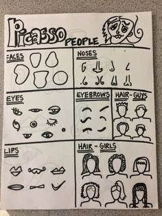 Jamestown Elementary Art Blog Picasso-inspired portrait reference sheet