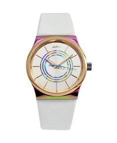 Kenzo orologio - cinturino in pelle - quadrante logato - movimento a tre lancette - indici con colore in contrasto - chi - Orologio donna  Bianco
