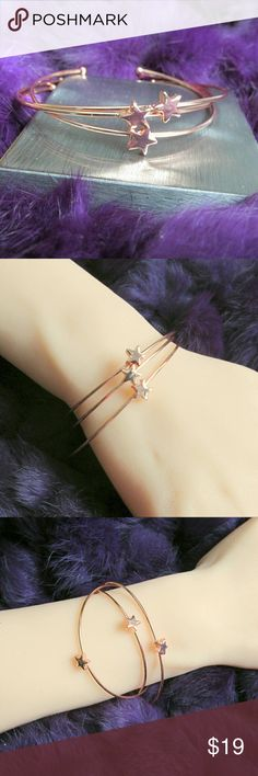 Rose Gold Minimalist 3 piece Star Cuffs Rose Gold Minimalist 3 piece Star Cuffs  Condition: New With Tags Type: Bracelet Style: Cuffs Brand: T&J Designs Materials: Nickel free base metals Features:  tiny star accents  Closet Note: Polish with clean dry cloth  DD 25.3.17 T&J Designs Jewelry Bracelets