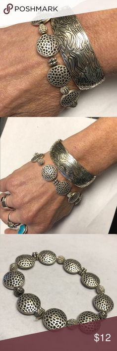 2 for 1 Silver Tone Antique Look Cuff and Stretch 2 Nice Combo Bracelets. Hammered, Silver Tone Stretch and a Tribal Design Cuff Very Pliable Jewelry Bracelets