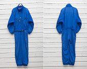 1980s A Bright Blue Skirwear Onepiece Snow Suit by Sportalm / Size 54 / Snowboarding Gear