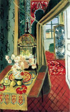 Henri Matisse Art Poster Flowers and Parakeet