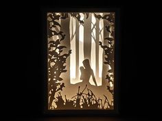 Paper Cut Silhouette Light Box  Fairy with a Magic Ball