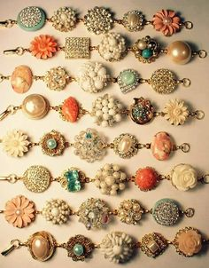 Vintage Jewelry Crafts Heirloom bracelets out of old earrings.old watchband or ribbon for the strand - Things you can make with vintage costume jewelry. DIY crafts to make with old jewelry. Jewelry Art, Beaded Jewelry, Handmade Jewelry, Jewelry Design, Jewlery, Jewelry Ideas, Silver Jewelry, Jewelry Accessories, Wire Jewelry
