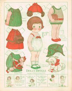 dollie dinkle paper dolls | Vintage Dolly Dingle Paper Dolls!