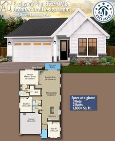 Plan Elegant Modern Farmhouse Plan Architectural Designs Exclusive Home Plan gives you 3 bedrooms, 2 baths and sq. Narrow House Plans, Garage House Plans, Family House Plans, Ranch House Plans, Tiny House Plans, House Floor Plans, Small House Plans Under 1000 Sq Ft, Bungalow Floor Plans, Modern Farmhouse Plans