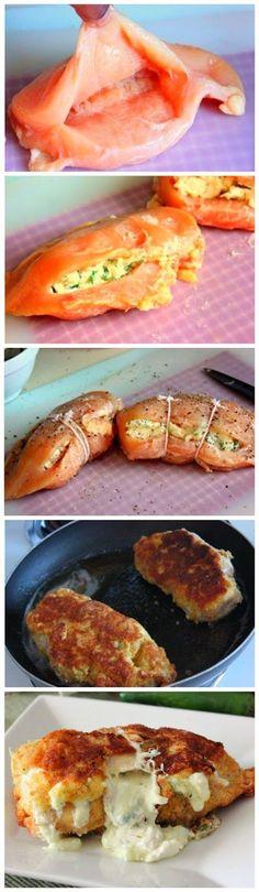 Pechugas de pollo rellenas con crema de jalapeño