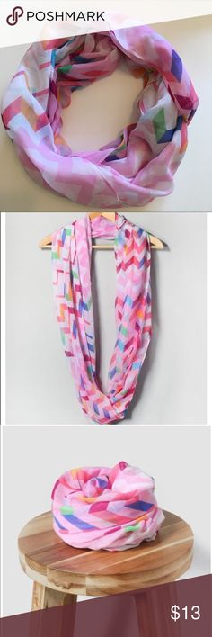 Pink multi color Chevron Infinity Scarf Finish your look with this lightweight infinity scarf with cute chevron design. Perfect for adding bright pops of color your outfit! NWOT Boutique 💕 first pic shows actual item Accessories Scarves & Wraps