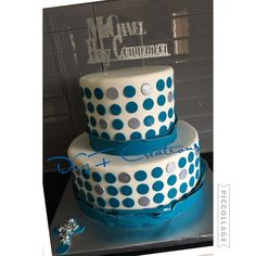 Blue and white communion or confirmation cake